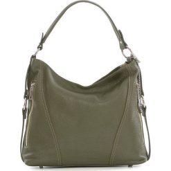 Torebki klasyczne damskie: Skórzana torebka w kolorze oliwkowym – 35 x 29 x 12 cm