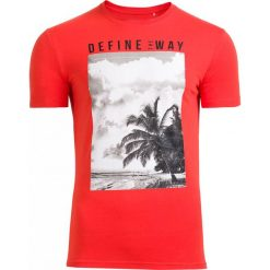 T-shirt męski TSM607 - czerwony - Outhorn. Czerwone t-shirty męskie Outhorn, na lato, m, z bawełny. Za 39,99 zł.