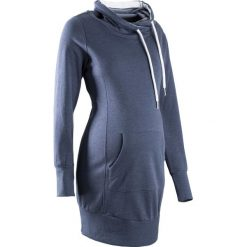 Długa bluza ciążowa bonprix indygo melanż. Niebieskie bluzy ciążowe marki bonprix, z materiału, z dekoltem w serek. Za 109,99 zł.
