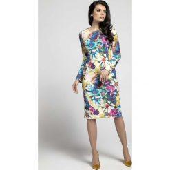 Sukienki: Kwiatowa Klasyczna Dopasowana Sukienka za Kolano