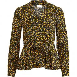 Bluzka w kolorze czarno-pomarańczowym. Brązowe bluzki damskie marki Vila & Co., z wiskozy, ze stójką. W wyprzedaży za 86,95 zł.