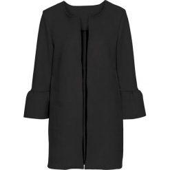 Płaszcze damskie pastelowe: Płaszcz ze sztucznej skóry welurowej z rozkloszowanymi rękawami bonprix czarny