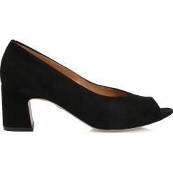 Buty ślubne damskie: Czarne cżółenka peep toe