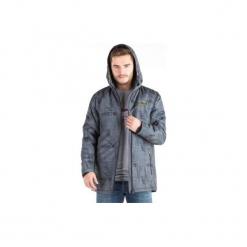 Kurtka męska zimowa gładka z kieszeniami, z kapturem, rozpinana. Szare kurtki męskie zimowe marki TXM, z dresówki. Za 34,99 zł.