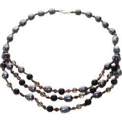 Naszyjniki damskie: Naszyjnik w kolorze czarno-granatowo-bordowym – (D)45 cm