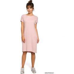 Odzież: Sukienka midi z kieszeniami w szwach - pudrowa