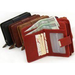 Skórzany portfel damski  - skórzane portfele w 6 kolorach. Brązowe portfele damskie Abruzzo, z materiału. Za 59,90 zł.