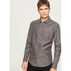 Jeansowa koszula slim fit - Szary. Szare koszule męskie jeansowe marki House, l. Za 79,99 zł.