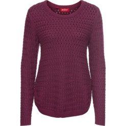 Swetry klasyczne damskie: Sweter w warkocze, z ozdobnym guzikiem, długi rękaw bonprix jeżynowy