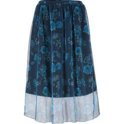 Spódnica siatkowa w kwiaty bonprix ciemnoniebieski z nadrukiem. Niebieskie spódniczki bonprix, w kwiaty. Za 89,99 zł.
