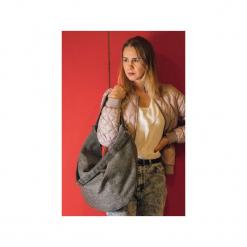 Szara torba z grubej plecionej tkaniny. Szare shopper bag damskie Karolina audycka, z haftami, ze lnu, na ramię, z haftem. Za 179,00 zł.
