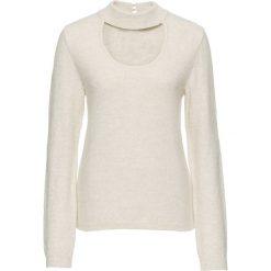 Sweter ze stójką bonprix beżowy. Brązowe swetry klasyczne damskie bonprix, z chokerem. Za 89,99 zł.