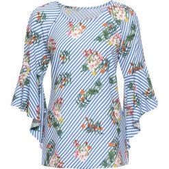 Bluzka z rozkloszowanymi rękawami bonprix biel wełny - niebieski w paski. Niebieskie bluzki z odkrytymi ramionami marki bonprix, z nadrukiem. Za 89,99 zł.
