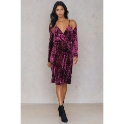 Sukienki: NA-KD Party Aksamitna sukienka kopertowa - Pink,Purple