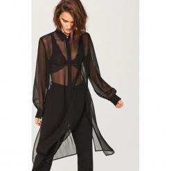 Zwiewna długa koszula - Czarny. Czarne koszule damskie marki Reserved, z długim rękawem. Za 79,99 zł.