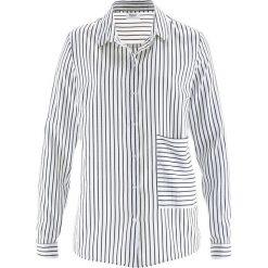 Bluzka z długim rękawem i naszywaną kieszonką bonprix czarno-biały w paski. Białe bluzki asymetryczne bonprix, w paski, z długim rękawem. Za 54,99 zł.