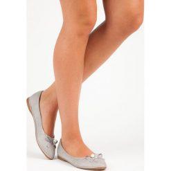 Baleriny damskie lakierowane: Eleganckie zamszowe baleriny XIMENA odcienie szarości i srebra