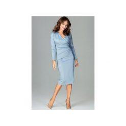 Sukienka K477 Niebieski. Niebieskie sukienki hiszpanki Lenitif, xl, z dekoltem w serek, z długim rękawem. Za 179,00 zł.