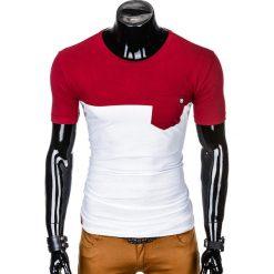 T-SHIRT MĘSKI BEZ NADRUKU S1014 - BORDOWY/BIAŁY. Białe t-shirty męskie z nadrukiem Ombre Clothing, m. Za 35,00 zł.