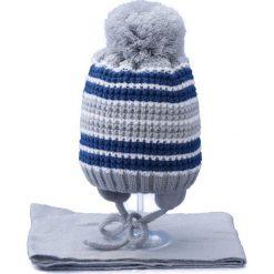 Czapka dziecięca z szalikiem CZ+S 020B szaro-niebieska r. 46-48. Niebieskie czapeczki niemowlęce Proman. Za 45,25 zł.