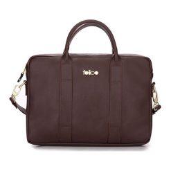 SKÓRZANA TORBA NA LAPTOPA BORDO NICOLE. Czerwone torby na laptopa FeliceGold, w paski, z bawełny. Za 399,00 zł.