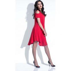 Czerwona Sukienka z Odkrytymi Ramionami. Czarne sukienki mini marki bonprix, do pracy, w paski, biznesowe, moda ciążowa. Za 102,90 zł.