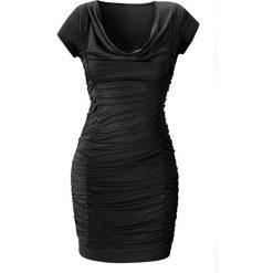 Sukienka z drapowaniem bonprix czarny. Czarne sukienki balowe bonprix, z nadrukiem, z dekoltem woda. Za 79,99 zł.