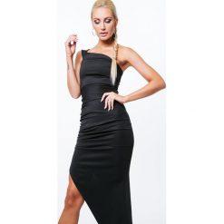 Sukienki: Sukienka asymetryczna czarna ZZ204