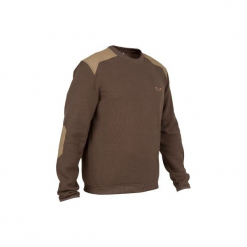 Sweter myśliwski 300. Brązowe swetry klasyczne męskie SOLOGNAC, m, z materiału. Za 69,99 zł.