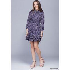 Sukienki: Sukienka z falbankami granatowa kw. różowe H016