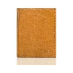 Portfele męskie: Jasno brązowe skórzane portfel etui na paszport SOLIER  ALEXANDRIA