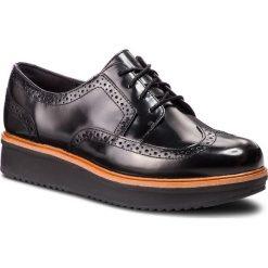 Oxfordy CLARKS - Teadale Maira 261363544 Black Leather. Czarne creepersy damskie Clarks, ze skóry, na płaskiej podeszwie. Za 459,00 zł.