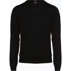 BOSS - Sweter męski – Leno-P, czarny. Czarne swetry klasyczne męskie Boss, l, ze lnu. Za 549,95 zł.
