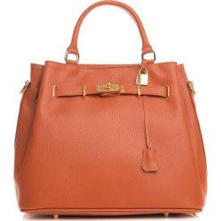 Torebki klasyczne damskie: Skórzana torebka w kolorze jasnobrązowym – 35 x 28 x 17 cm