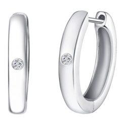 Kolczyki damskie: Srebrne kolczyki-kreole z diamentami