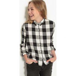 Koszula w kratę, 10-16 lat. Szare bluzki dziewczęce bawełniane La Redoute Collections, z klasycznym kołnierzykiem, z długim rękawem. Za 52,88 zł.