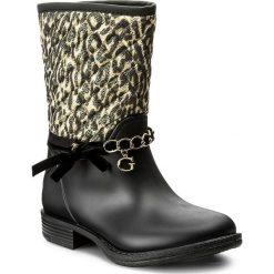 Kalosze GUESS - Romy FLROW3 RUB11  LEOPA. Czarne buty zimowe damskie marki Guess, z materiału. W wyprzedaży za 289,00 zł.