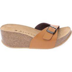 Buty damskie: Skórzane klapki w kolorze jasnobrązowym