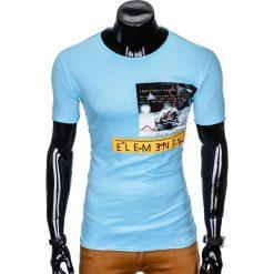 T-SHIRT MĘSKI Z NADRUKIEM S985 - BŁĘKITNY. Niebieskie t-shirty męskie z nadrukiem Ombre Clothing, m. Za 29,00 zł.