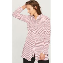 Koszule wiązane damskie: Koszula w paski – Pomarańczo