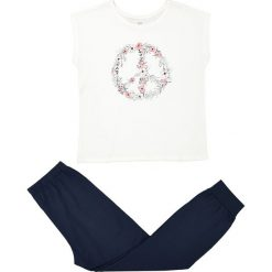 Piżama z długimi spodniami i wzorzystą koszulką z krótkim rękawem. Białe bluzki dziewczęce z nadrukiem La Redoute Collections, z długim rękawem. Za 70,52 zł.