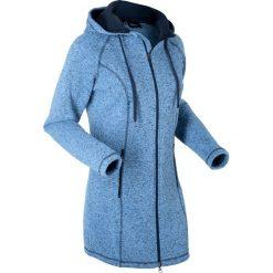 Długa bluza z dzianiny polarowej, długi rękaw bonprix niebiesko-ciemnoniebieski melanż. Niebieskie bluzy polarowe marki bonprix, melanż, z długim rękawem, długie. Za 149,99 zł.