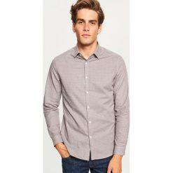 Koszula w kratkę slim fit - Brązowy. Brązowe koszule męskie slim marki Reserved, m, z bawełny. Za 69,99 zł.
