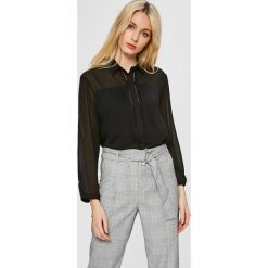 Answear - Koszula Stripes Vibes. Szare koszule damskie marki ANSWEAR, l, z poliesteru, z długim rękawem, długie. W wyprzedaży za 79,90 zł.