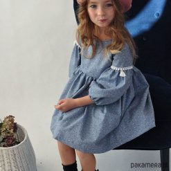 Sukienka Nikola. Szare sukienki dziewczęce z falbanami Pakamera, z bawełny, boho. Za 249,00 zł.