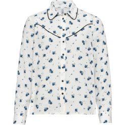 Bluzka w kwiaty bonprix biel wełny - jasnoniebieski w kwiaty. Białe bluzki damskie bonprix, w kropki, z wełny. Za 89,99 zł.