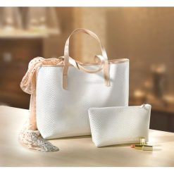 "Shopper bag damskie: Torebka shopper ""kroko"" bonprix biały"