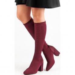AŻUROWE KOZAKI NA SŁUPKU. Czerwone buty zimowe damskie Merg, na słupku. Za 100,00 zł.