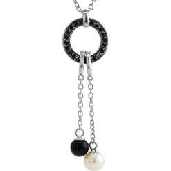 Naszyjniki damskie: Srebrny naszyjnik z perłą słodkowodną, agatem i cyrkoniami – (D)42 cm