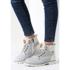 Szare Traperki Blue Shoes. Szare buty zimowe damskie vices, z materiału, z okrągłym noskiem, na obcasie. Za 119,99 zł.